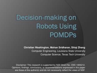 Decision-making on Robots Using  POMDPs