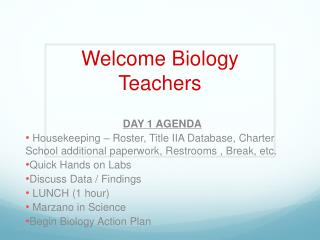 Welcome Biology Teachers