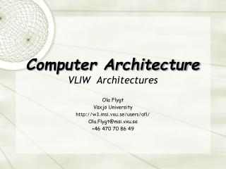 Computer Architecture VLIW  Architectures