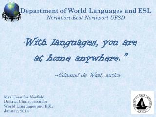 Department of World Languages and ESL Northport-East Northport UFSD