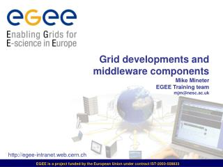 Grid developments and  middleware components Mike Mineter EGEE Training team mjm@nesc.ac.uk
