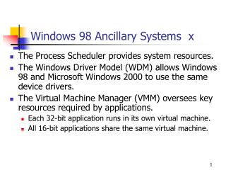 Windows 98 Ancillary Systems   x