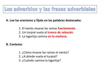 Los adverbios y las frases adverbiales