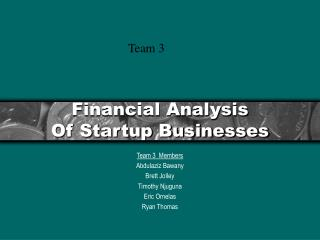 Financial Analysis Of Startup Businesses
