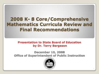 Big Picture Overview Instructional Materials Review and Recommendations