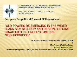 European Geopolitical  Forum-EGF  Research on: