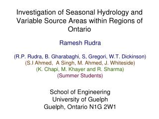 Investigation of Seasonal Hydrology and Variable Source Areas within Regions of Ontario