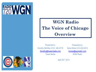 Presented by: Karen Moss 312-222-4010 kmoss@wgnradio WGN Radio