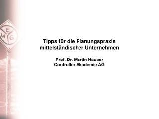 Tipps für die Planungspraxis mittelständischer Unternehmen Prof. Dr. Martin Hauser