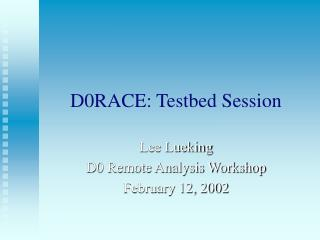 D0RACE: Testbed Session
