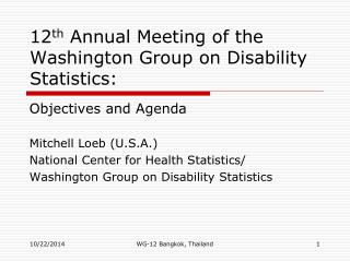 12 th  Annual Meeting of the Washington Group on Disability Statistics: