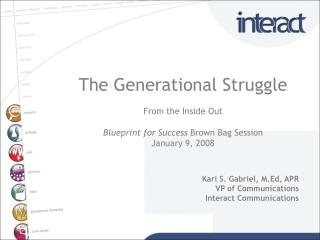 The Generational Struggle From the Inside Out Blueprint for Success  Brown Bag Session