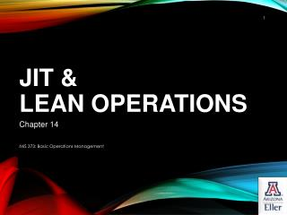 JIT &  Lean Operations
