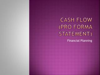 Cash Flow  (Pro Forma statement)