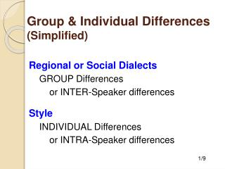 Group & Individual Differences (Simplified)