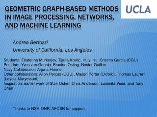 Geometric graph-based methods in image processing, networks, and machine learning