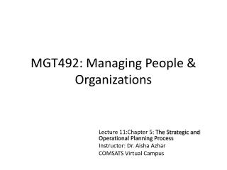 MGT492: Managing People & Organizations