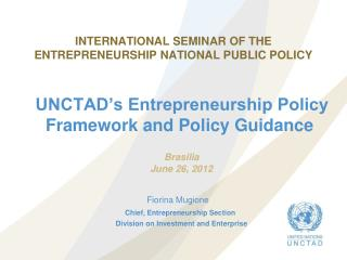 INTERNATIONAL SEMINAR OF THE ENTREPRENEURSHIP NATIONAL PUBLIC POLICY