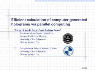 Efficient calculation of computer generated holograms via parallel computing