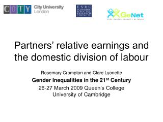 Partners' relative earnings and the domestic division of labour