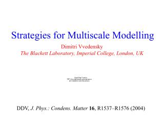 Strategies for Multiscale Modelling