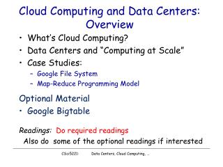 Cloud Computing and Data Centers: Overview