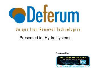Presented to: Hydro systems