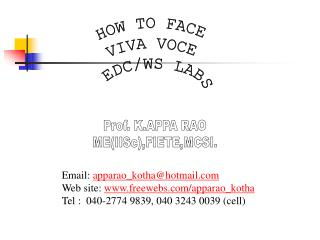 HOW TO FACE VIVA VOCE  EDC/WS LABS