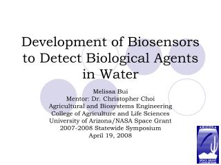 Development of Biosensors to Detect Biological Agents in Water