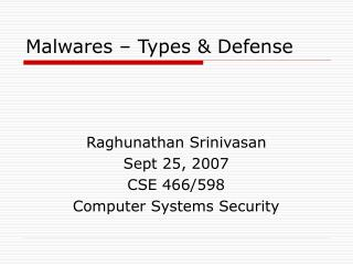 Malwares – Types & Defense