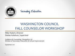 WASHINGTON COUNCIL  FALL COUNSELOR WORKSHOP
