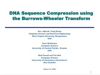 DNA Sequence Compression using the Burrows-Wheeler Transform