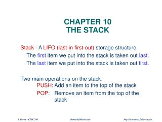 CHAPTER 10 THE STACK