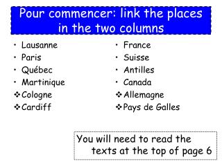 Pour commencer: link the places in the two columns