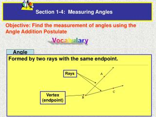Section 1-4:  Measuring Angles