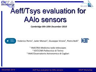Aeff / Tsys  evaluation for  AAlo  sensors