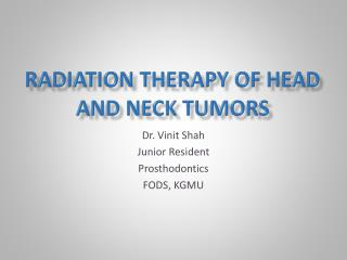 RADIATION THERAPY OF  HEAD  AND  NECK TUMORS