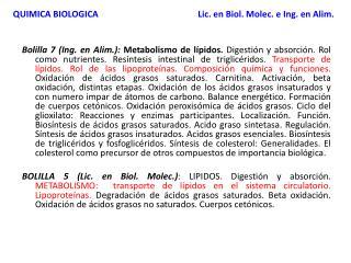 QUIMICA BIOLOGICA Lic. en Biol. Molec. e Ing. en Alim.