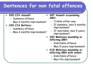 Sentences for non fatal offences