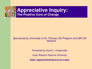 Appreciative Inquiry: The Positive Core of Change