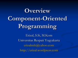 Overview Component-Oriented Programming