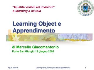 Learning Object e Apprendimento