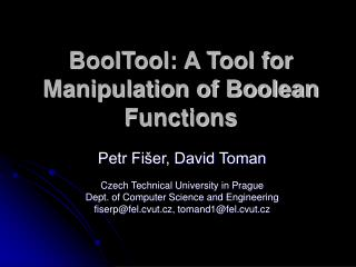 BoolTool: A Tool for Manipulation of Boolean Functions