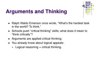Arguments and Thinking