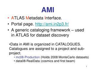 A TLAS M etadata I nterface. Portal page. ami2p3.fr/