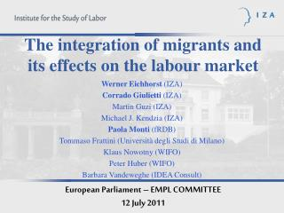 The integration of migrants and its effects on the labour market