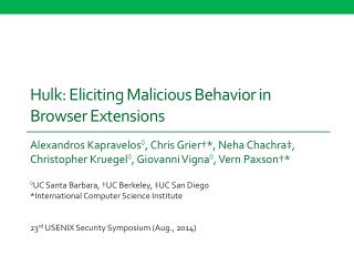 Hulk: Eliciting Malicious Behavior in Browser Extensions