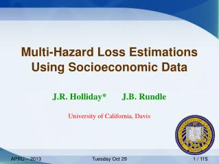 Multi-Hazard Loss Estimations Using Socioeconomic Data