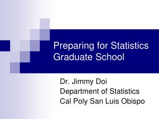 Preparing for Statistics Graduate School