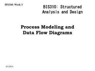 Process Modeling and  Data Flow Diagrams